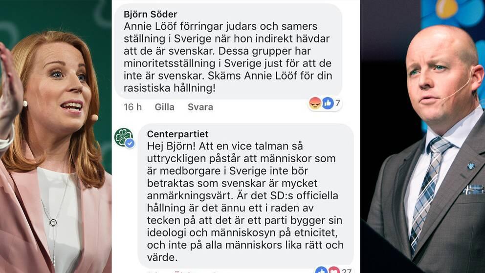 Annie Lööf, Björn Söders kommentar på Centerpartiets Facebook-sida, Björn Söder