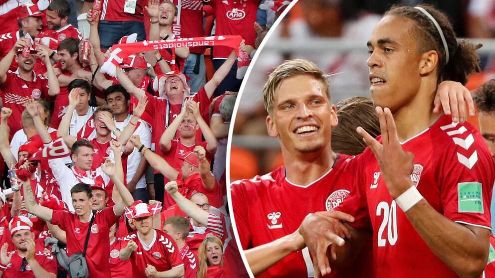 Yussuf Poulsen, längst till höger, blev hjälte för Danmark med matchens enda mål.