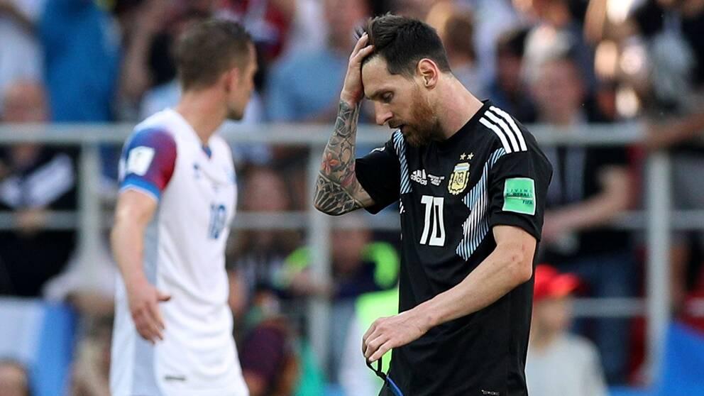 Poängtappet mot Island var tungt för Argentina och Leo Messi.