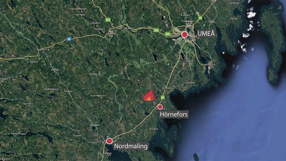 satellit-karta med markeringar