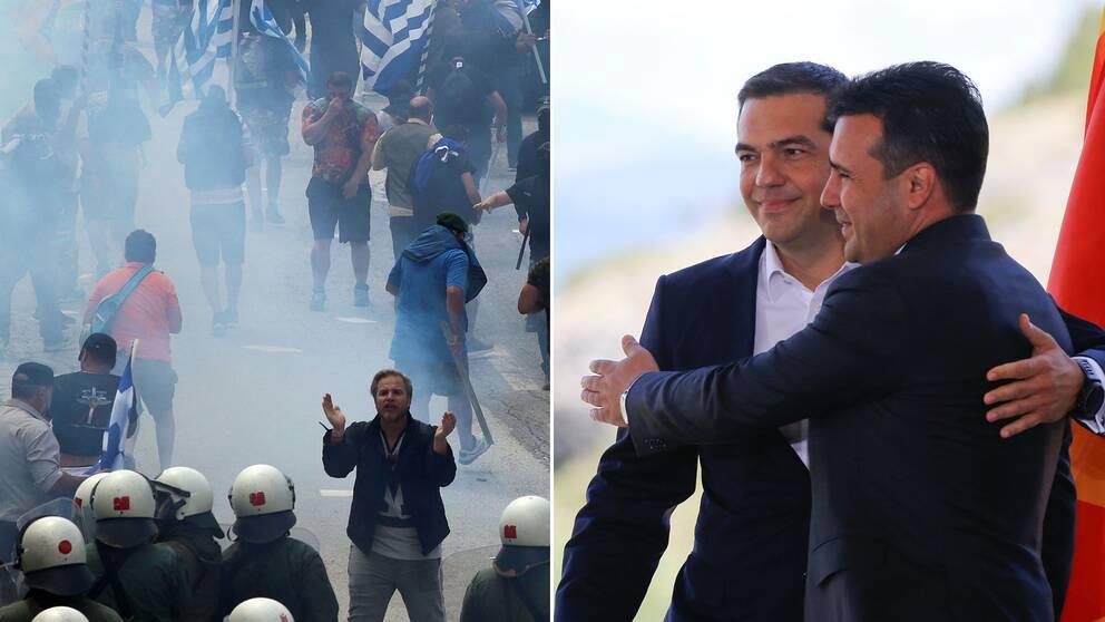 Demonstranter och Greklands premiärminister Alexis Tsipras och numera Nordmakedoniens premiärminister Zoran Zaev.