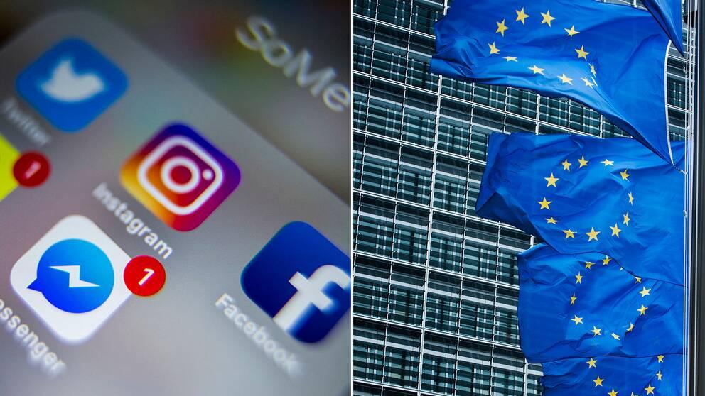 Sociala medieappar och eu-flagga.