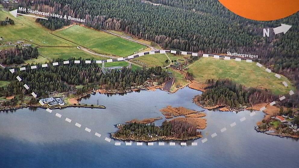 Karlstads kommuns ritning över det tänkta området för Muminparken på Skutberget.