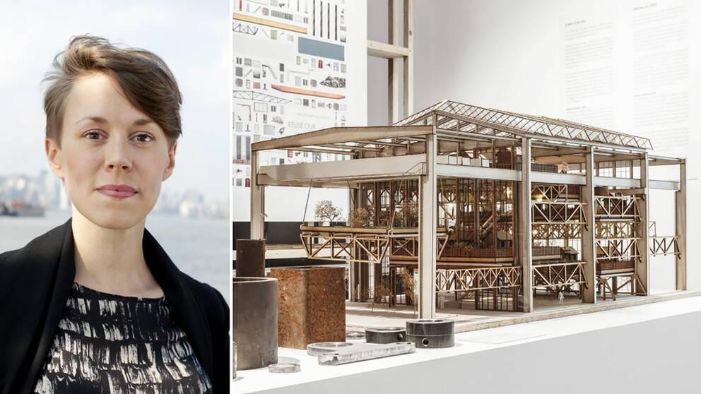 dubbelbild: porträtt på museichef och utställningsföremål i form av byggnadsmodell