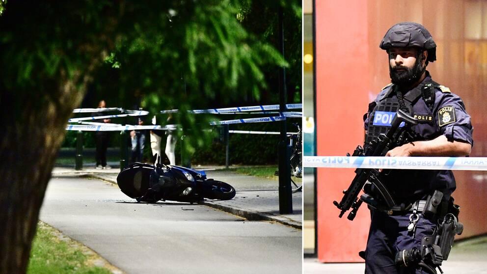 En moped innanför polisens avspärrningar. Beväpnad polis.