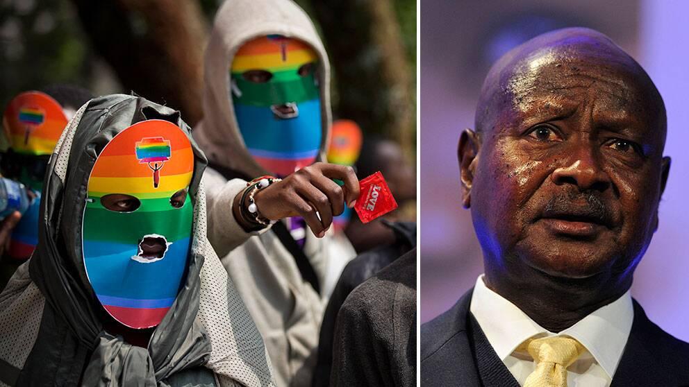 Ugandas president Museveni (t.h.) skrev i dag under en lag som gör att homosexuella riskerar mellan 14 års och livstids fängelse. Till vänster kenyanska hbt-aktivister som demonstrerar för sina ugandiska bröders och systrars rättigheter.