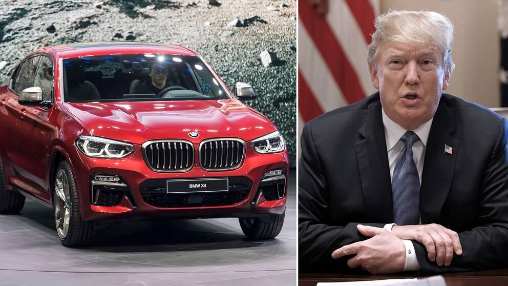 En BMW och president Donald Trump.