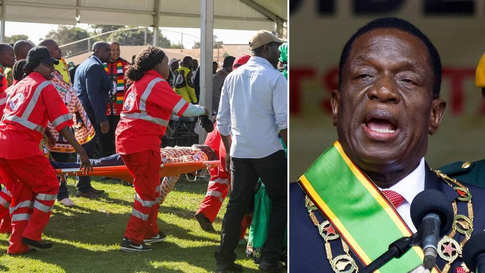 Skadade bärs iväg efter explosionen. Till höger Emmerson Mnangagwa vid ett tidigare tillfälle.