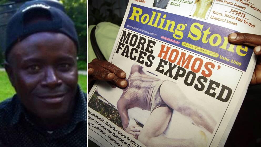 Baker Katumba flydde från sitt hem efter att han avslöjats med att vara homosexuell. Till höger, den ugandiska tidningen Rolling Stone, som 2010 kritiserades för att ha publicerat namn och bild på homosexuella.