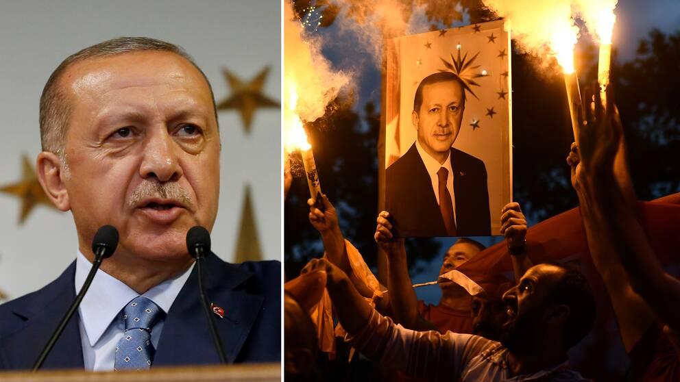 Till vänster Recep Tayyip Erdoğans när han utropade sig till valsegrare. Till höger hans supportrar som firar.