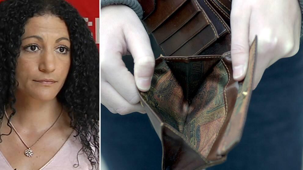 Dubbelbild: porträtt på sara azzizi och barnhänder som håller upp en tom plånbok
