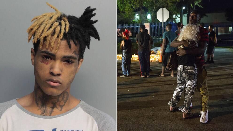 Fans samlades vid mordplatsen i Deerfield, Florida för att sörja efter att XXXTentacion skjutits till döds den18 juni.