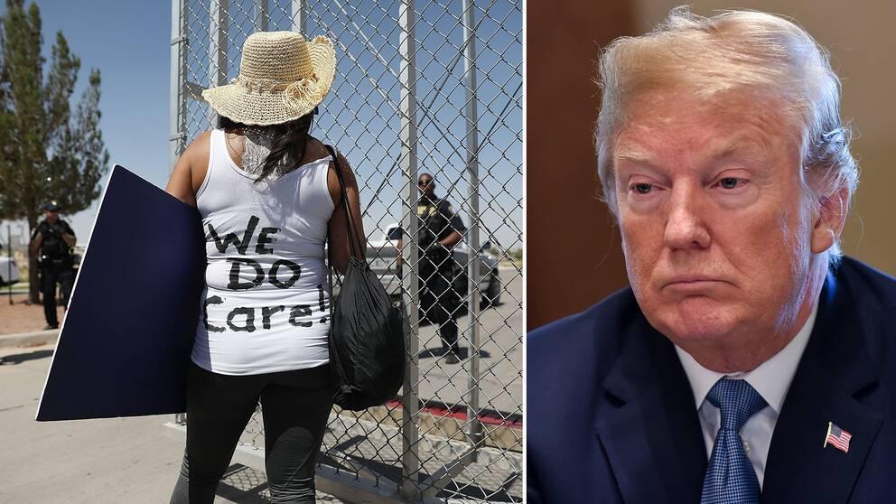 """En kvinna med texten """"Vi bryr oss"""" på ryggen, som en tydlig referens till presidentfrun Melania Trumps jacka som hon bar då hon besökte mexikanska gränsen häromdagen. Och Donald Trump."""