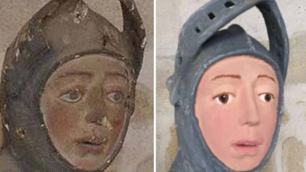 """1500-tals statyn föreställande Sankt Göran före och efter den nu kritiserade """"restaureringen"""""""