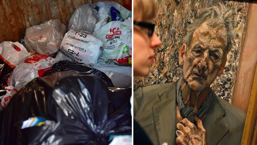 """Målningen till höger är inte det självporträtt av konstnären Lucian Freud som slängdes år 2000 utan ett annat kallat """"Self Portrait Refection"""""""