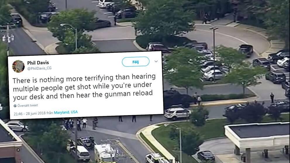 """""""Det finns inget hemskare än att höra flera personer bli skjutna medan du är under ditt skrivbord och sedan hör gärningsmannen ladda om,"""" skriver tidningens reporter Phil Davis på Twitter."""