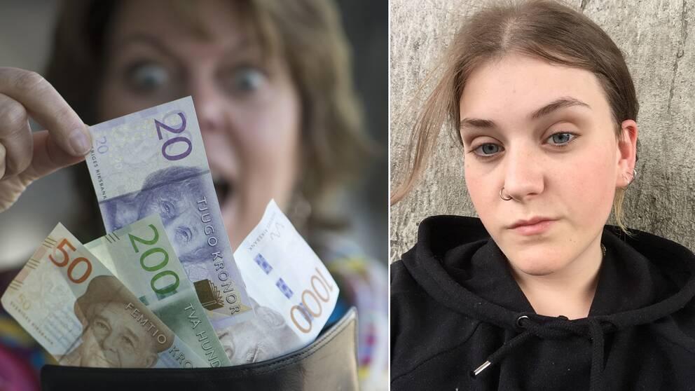 En kvinna som håller upp en plånbok med sedlar. Till höger en bild på Emma Florin.