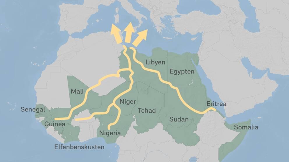 Bilden visar de vanliga flyktingvägarna mot Europa. Artikeln handlar framför allt om vägen från Eritrea, genom Sydan och Libyen.