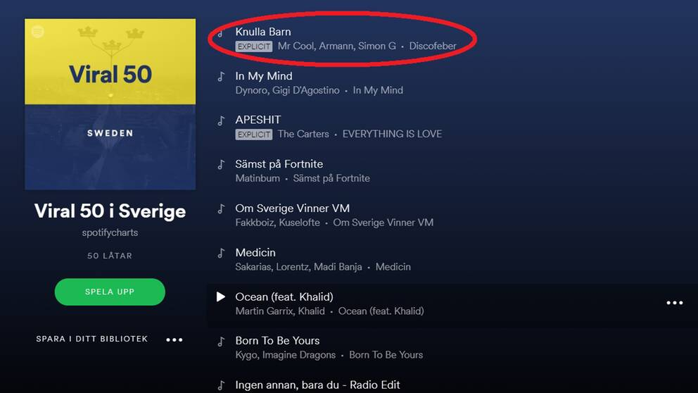 """""""Knulla barn"""" gick under fredagen upp till förstaplatsen på Spotifys lista över Svergies mest virala låtar."""