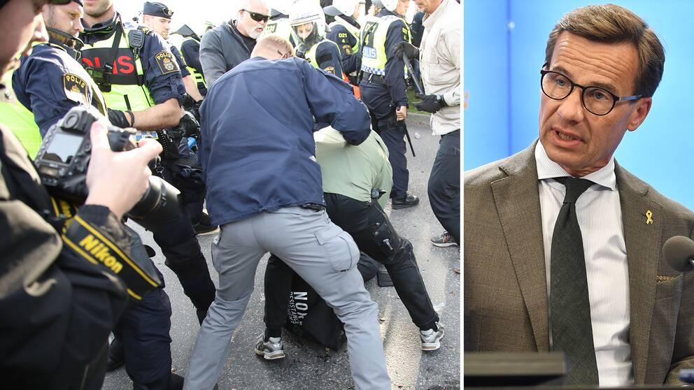 Moderaternas partiledare Ulf Kristersson vill förbjuda deltagande i våldsbejakande organisationer som Nordiska Motståndsrörelsen.