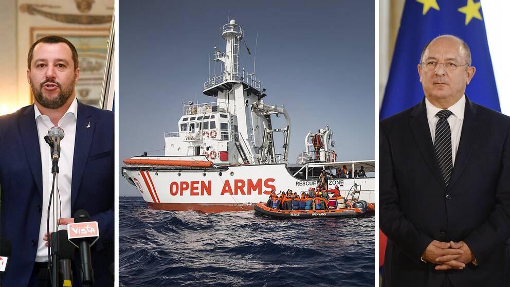 Italiens inrikesminister Matteo Salvini (t.v.) ville inte ta emot migrantfartyget, inte heller Malta och dess inrikesminister Michael Farrugia.