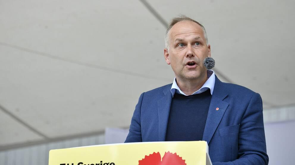 Vänsterpartiets ledare Jonas Sjöstedt höll tal under politikerveckan i Almedalen.