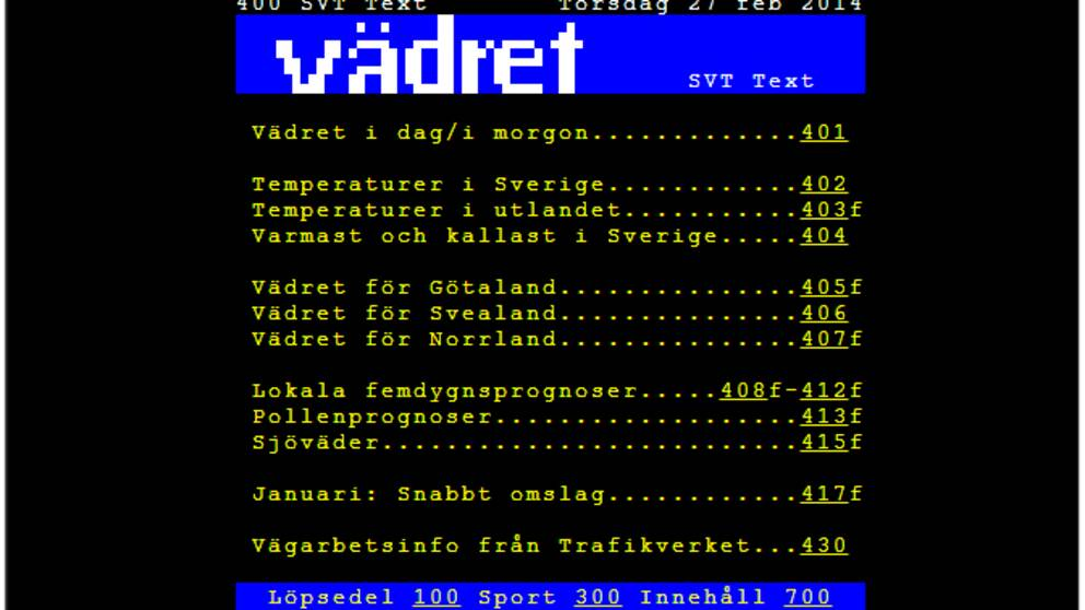 text-tv på webben