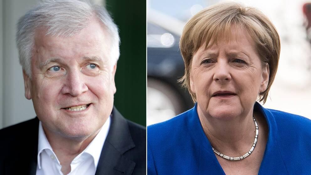 Angela Merkel och hennes inrikesminister Horst Seehofer när de anlände till mötet tidigare under måndagen.