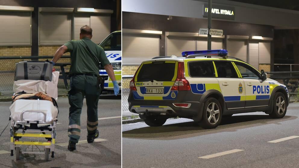 Ambulanspersonal som anländer till platsen och en polisbil.