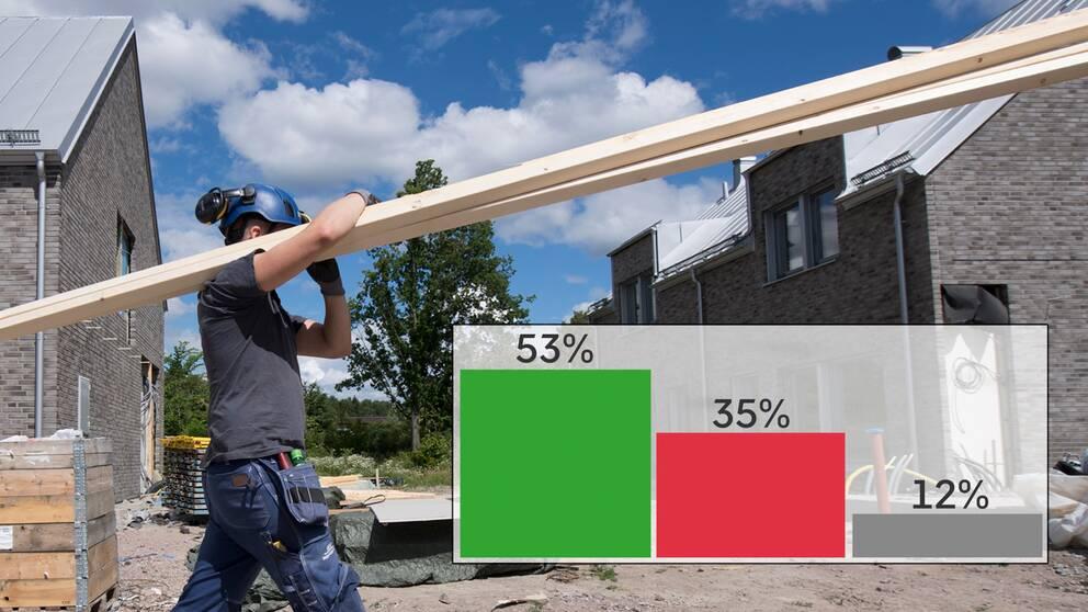Ung byggarbetare bär plankor på ett bygge.