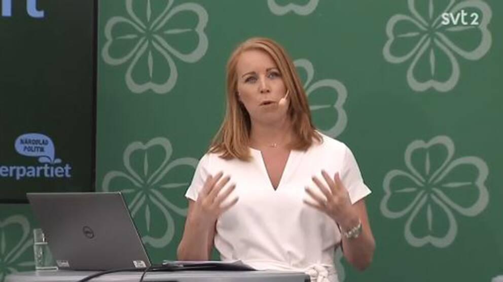 Annie Lööf, Centerpartiets ledare håller pressträff i Almedalen.