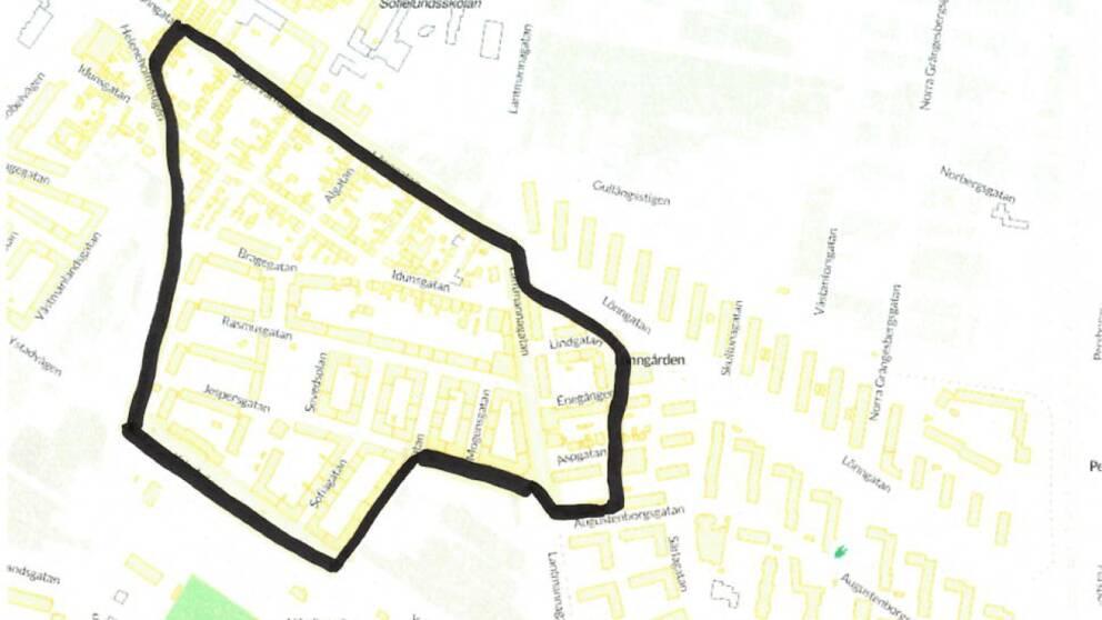 Kartan visar området där PostNord inte levererar paket.