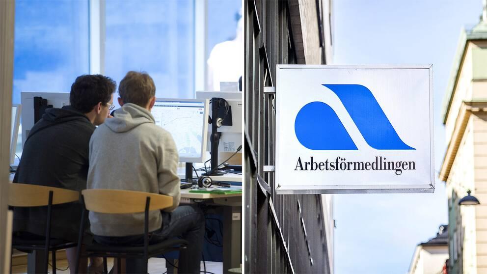 Bild på två killar som söker jobb vid en dator samt bild på en skylt på arbetsförmedlingen.