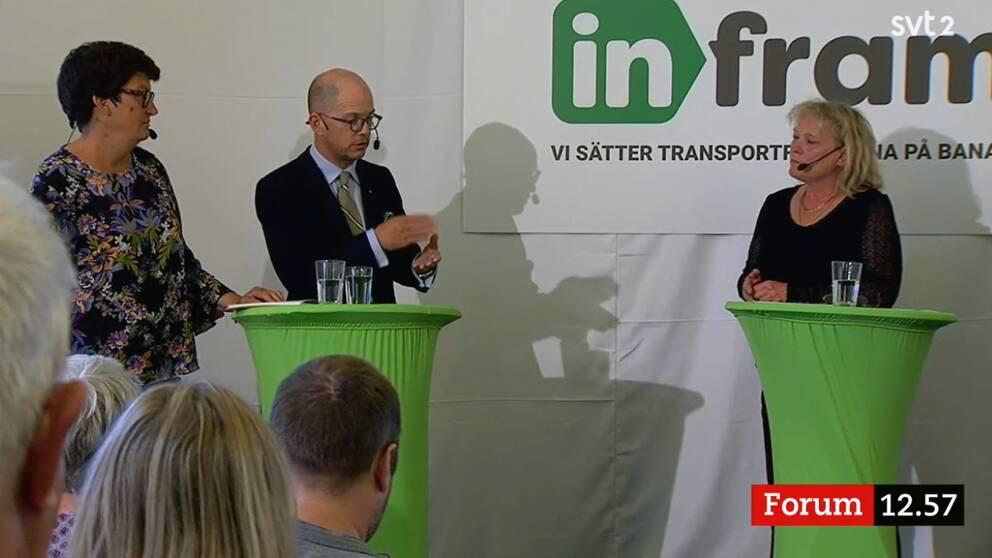 Helle Klein, Dagens Arbete och Per Gudmundson, Svenska Dagbladet, medverkade i seminariet om stad och land. Lotta Gröning var moderator.