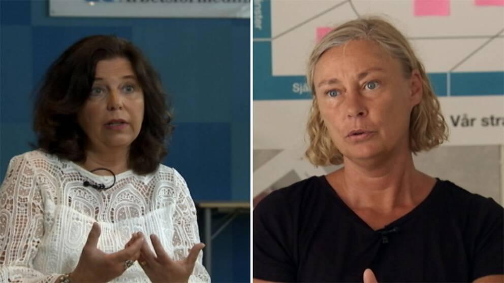 Arbetsförmedlingens överdirektör Maria Mindhammar och handläggaren Sara Rastbäck