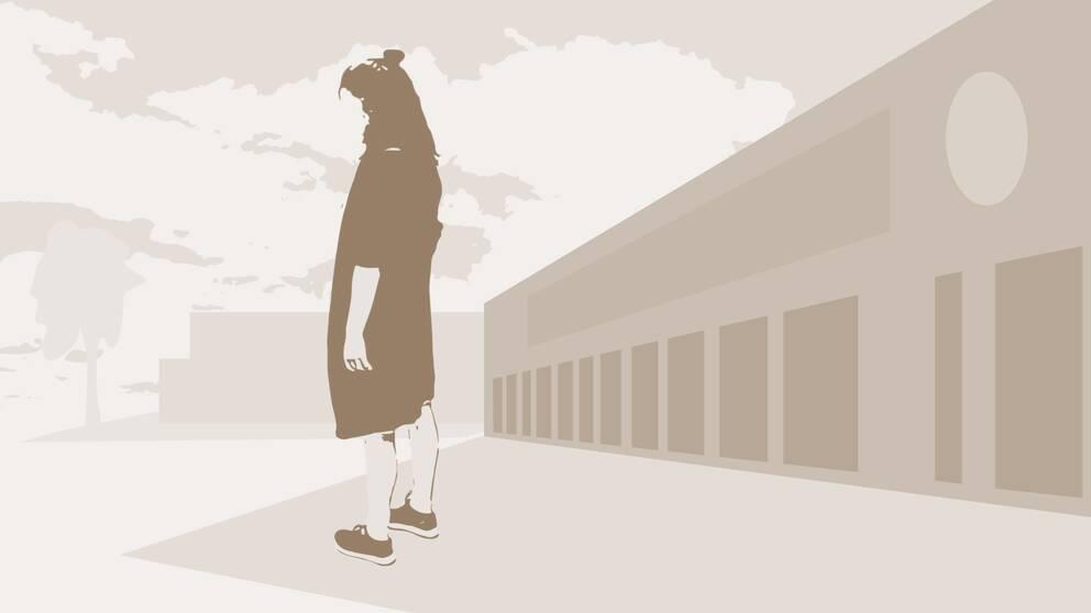 tecknad bild flicka i skolmiljö