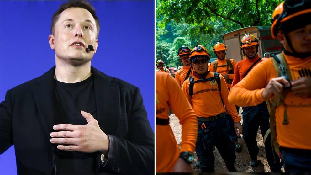 Elon Musk och thailändska räddningsarbetare