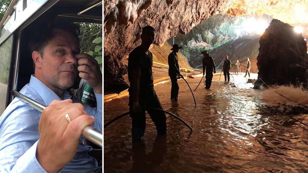 SVT Nyheters reporter Niklas Sjögren, samt en bild utanför grottan där de thailändska pojkfotbollslaget är fast sedan den 23 juni i år.