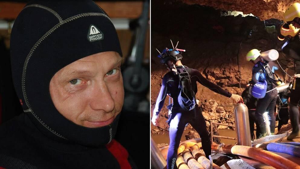 Grottdykarinstruktören Stefan Hogeborn och en bild på några dykare vid grottan i Thailand.