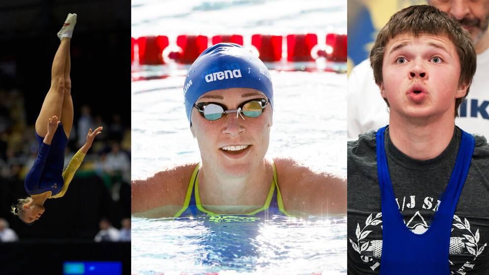 Lina Sjöberg, Sarah Sjöström och Eddie Berglund.
