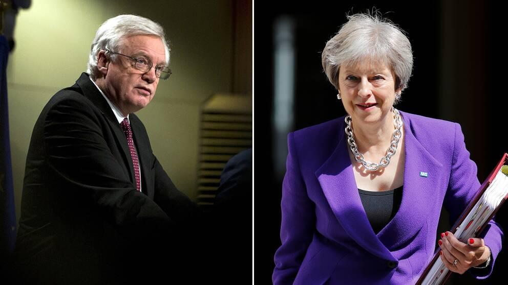 David Davis och Storbritanniens premiärminister Theresa May.