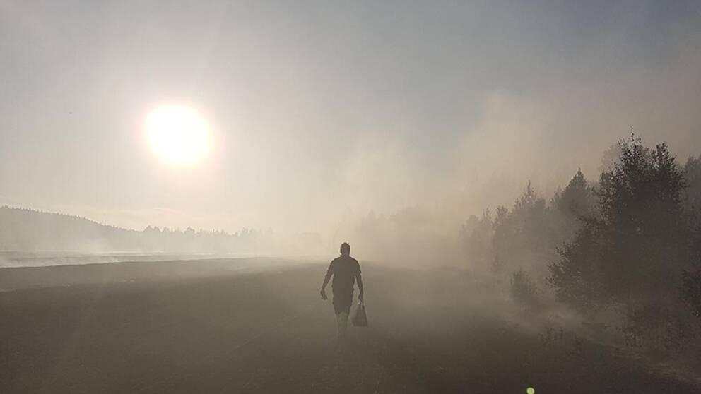 Brandman på väg ut i skogen norr om Helgum – brandrök skymmer solen.