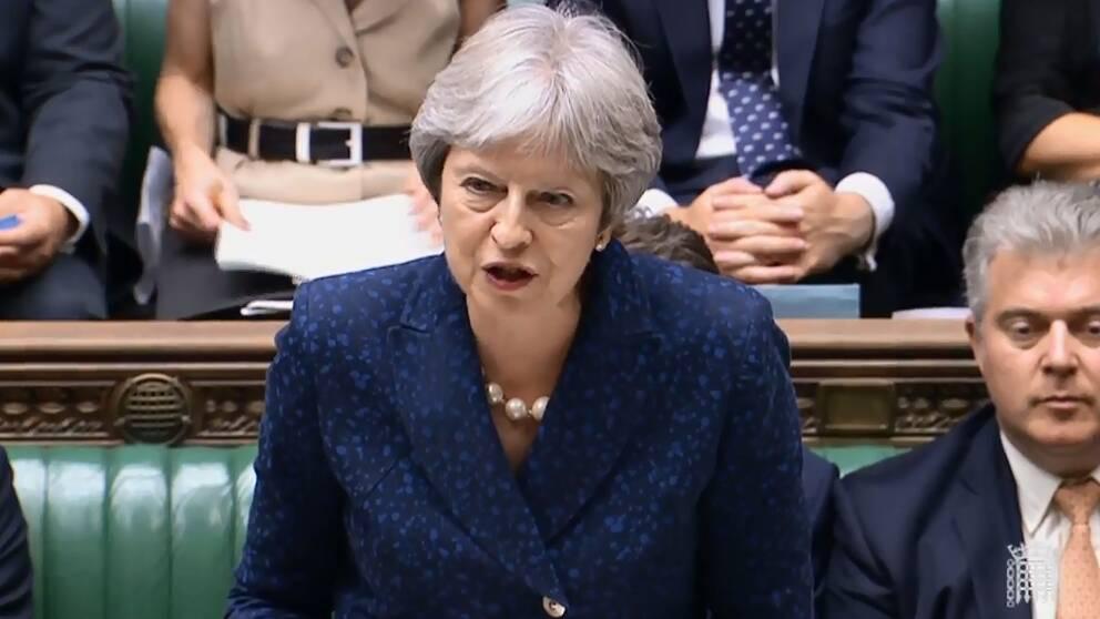 Storbritanniens premiärminister Theresa May talar i parlamentet.