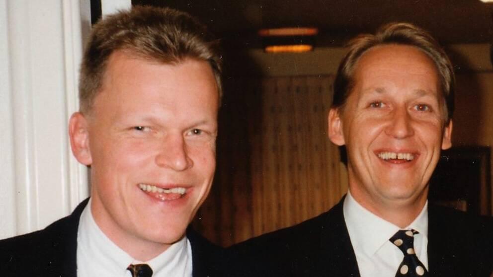 Janne Andersson tillsammans med klubbkamraten Bo Hallström. Bilden är tagen 1993 då Alets IK firar 70 år.