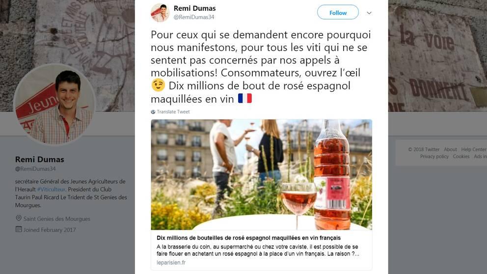 En skärmdump från Dumas Twitterkonto.