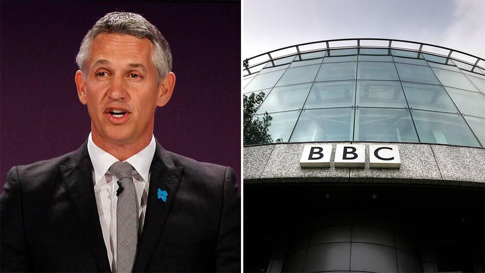 Brittiska programledaren Gary Lineker och exteriören på BBC:s kontor