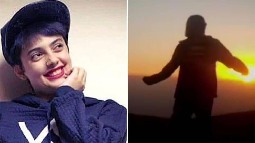 Biild på Maedeh Hojabri samt någon som dansar för att stödja henne.