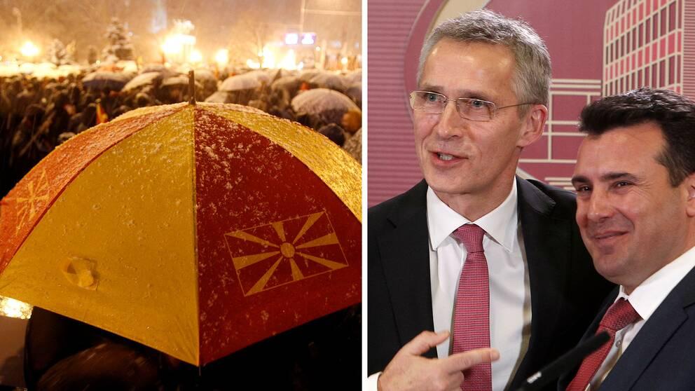 En bild på ett paraply prydd med Makedoniens flagga samt en bild på Jens Stoltenberg, Natos generalsekreterare tillsammans med Makedoniens premiärminister Zoran Zaev.