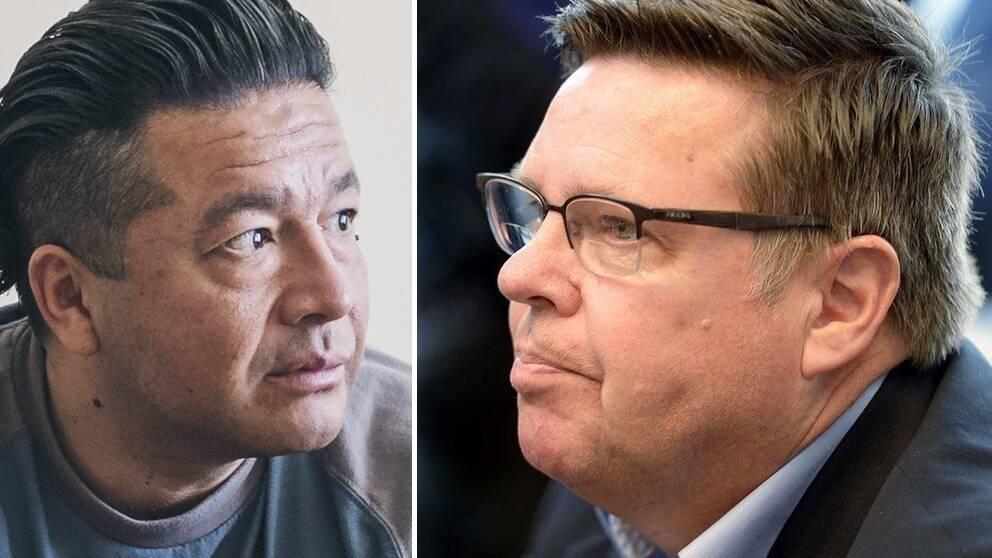 """Till vänster Leo """"Kinesen"""" Carmona som är dömd för anstiftan till mordet. Till höger den finska tidigare polischefen Jari Aarnio som nu är gripen misstänkt för inblandning i mordet."""