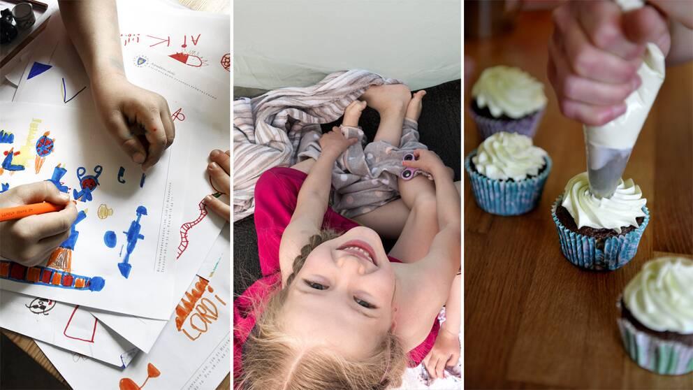 Teckningar, barn i tält och cupcakes.